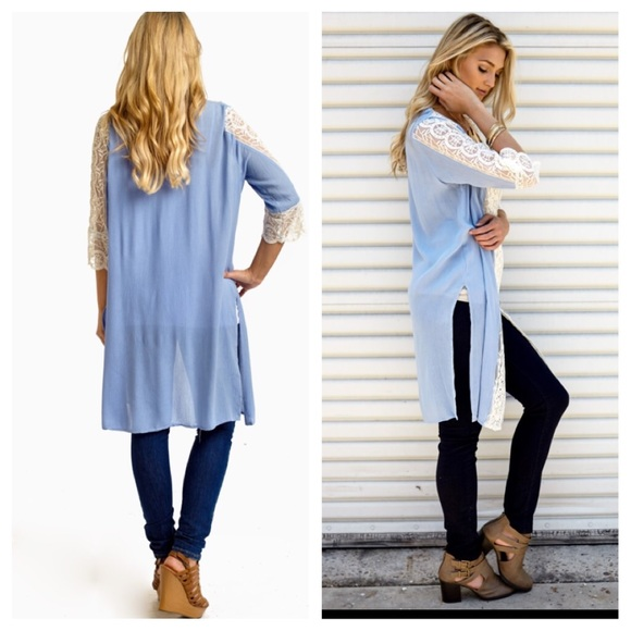 73% off Pinkblush Tops - Light blue lace cardigan from Suzee's ...