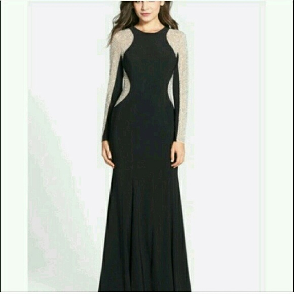 Xscape Dresses | Illusion Hourglass Evening Gown Holiday Nude Black ...