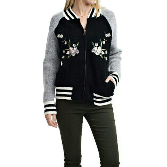 Black varsity jacket with floral embroidery