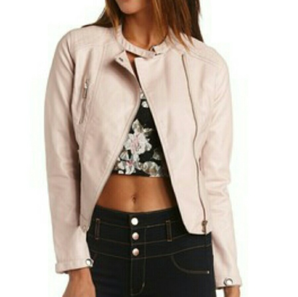 acf2cf4d63 Blush quilted faux leather Moto jacket. Charlotte Russe.  M_583cff0741b4e0545f13b77c. M_583cff082fd0b7652613a44e
