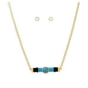 🌎📿👂🏼Gold/Turquoise Threaded Bar Necklace Set