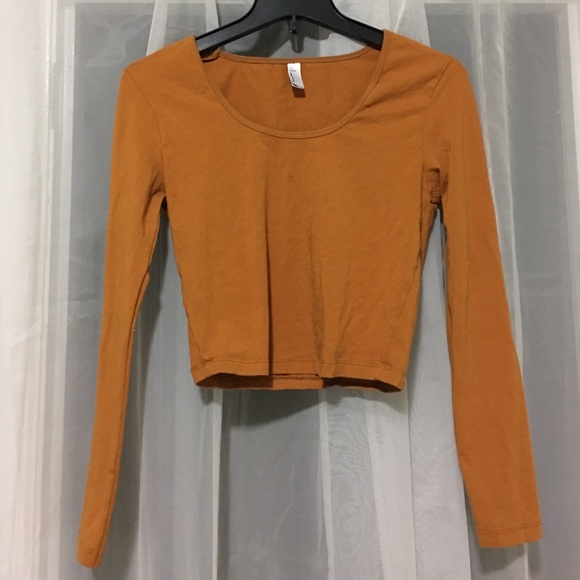 72717e70055192 American Apparel Burnt Orange long sleeve Crop Top