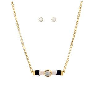 Jewelry - 🎹📿👂🏼Gold Tone White Bar Necklace Set