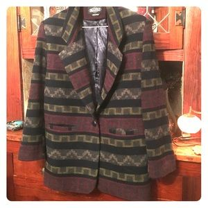 Braeton Aztec Southwestern wool coat