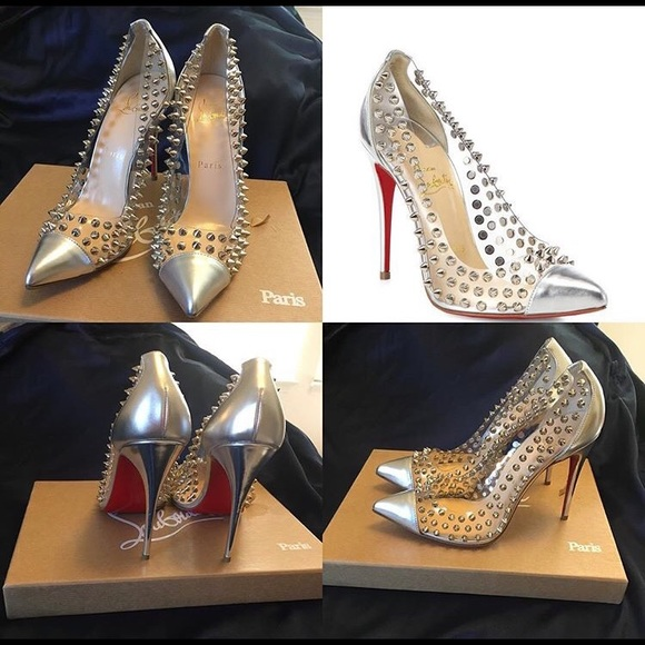 d515d30b349a Christian Louboutin Spike Me Red Sole Silver Pumps