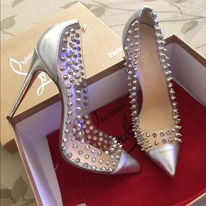 bdc2b386d082 Christian Louboutin Shoes - Christian Louboutin Spike Me Red Sole Silver  Pumps