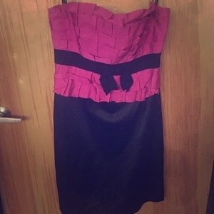 City Chic Black and pink grosgrain cocktail dress