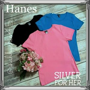 2/$25 Hanes Silver T-shirt (Fitted) Bundle NWOT