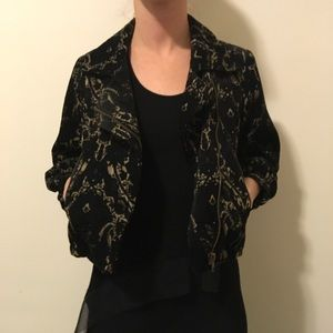 Free People Jackets & Blazers - FREE PEOPLE Black Deco Print Cropped Moto Jacket