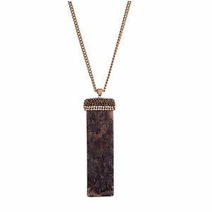 Jewelry - 🎹📿Black & Pavé Stone Bar Pendant Necklace