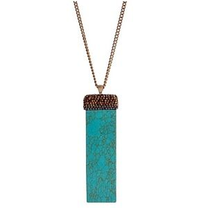 🌎📿Turquoise & Pavé Stone Bar Pendant Necklace