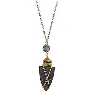 Jewelry - 🌎📿Black & Amazonite Arrowhead Pendant Necklace