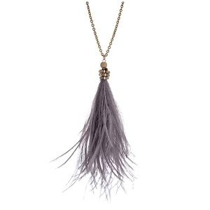 Jewelry - 🌎📿Gray Feather Tassel Pendant Necklace