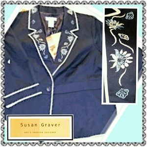 Susan Graver Jackets & Blazers - Navy embroidered blazer by Susan Graver