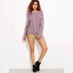 ✨Purple Cable Knit Off The Shoulder Sweater✨