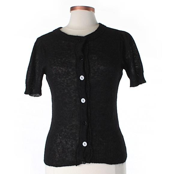 Sunny Leigh - • Sunny Leigh Black Short Sleeve Cardigan Sweater ...