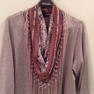 sale Tunic top with detachable fringe scarf