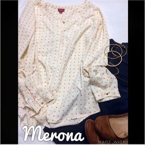 EUC Merona Cream Polka Dot Blouse - S