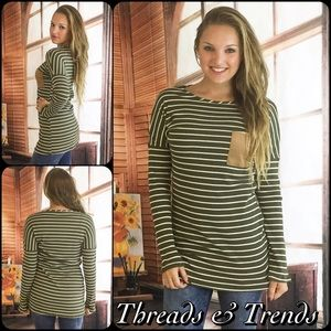 Threads & Trends Tops - SALE💕 Olive Striped Suede Pocket Long Sleeve Top