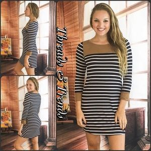 Threads & Trends Dresses & Skirts - Navy & White Striped Faux Suede Mini Dress Tunic