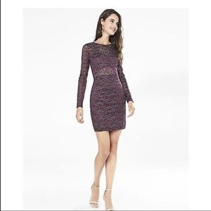 FINAL OFFER Express Dark Berry Metallic Lace Dress