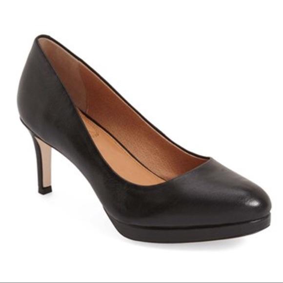 black platform mid heels