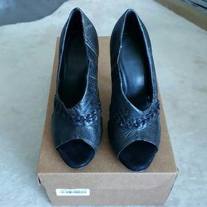 All Saints Shoes - $280 All Saints Black Leather Peep Toe Heel