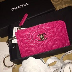 CHANEL Handbags - Chanel Classic CC Caviar Camellia Key Card Wallet