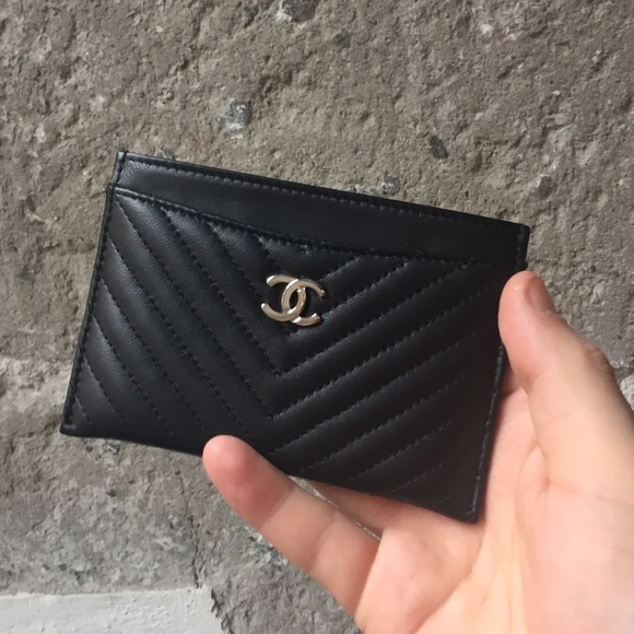 197a1ef52a7e CHANEL Accessories | Chevron Card Case Black Lambskin Silver Hw ...