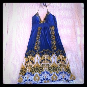 Dresses & Skirts - Blue gold and white dress