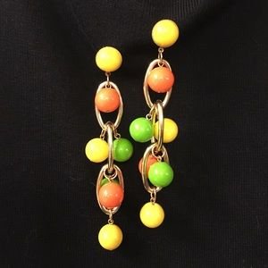 Dangle green ,yellow ,orange Pierced Earrings