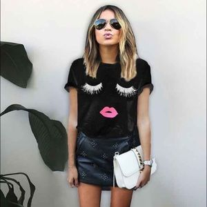 Tops - Black Eyelash Lip Top graphic print soft fit shirt