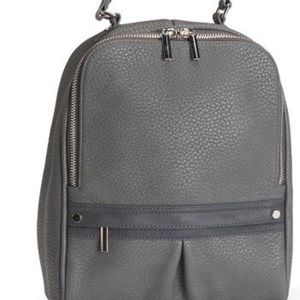 Faux leather zippered backpack