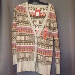 NWT Mossimo Tribal Button Down Cardigan