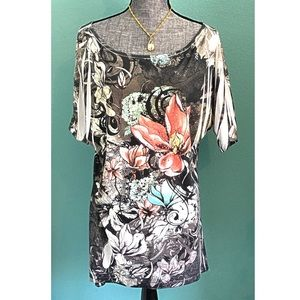 mi manchi Tops - Floral Rhinestone Top 1X black red Plus