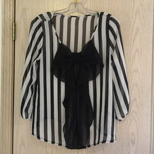 Black and white striped shirt with bow detail