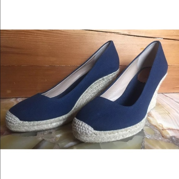 e3e9ddfcb90 J. Crew Shoes - J. Crew Seville Espadrille Wedge Navy Canvas