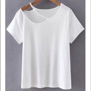 NWT White cutout t shirt size M