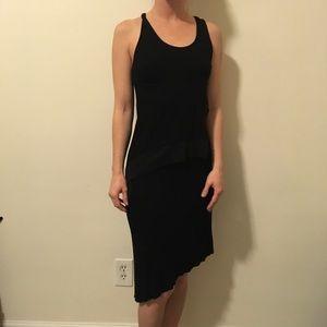 BCBGMaxAzria Black Ribbed Asymmetrical Dress
