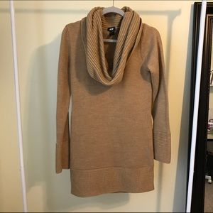 H&M tan turtleneck sweater dress
