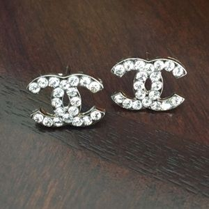 Silver bling crystal Chanel designer logo earrings