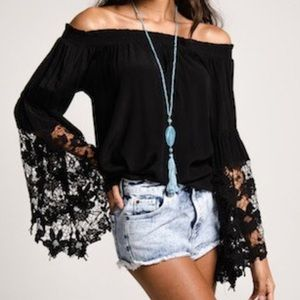 Southern Girl Fashion Tops - BANDED TOP Off Shoulder Floral Lace Blouse Classic