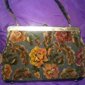 Handbags - Vintage Floral Handbag  Retro