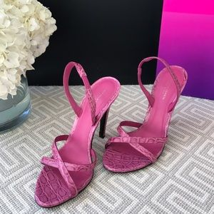 Bottega Veneta Crocodile Slingbacks in Fuschia