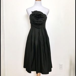 H&M Black Flower Strapless Dress