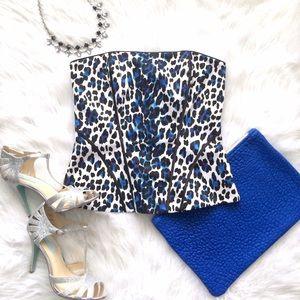 WHBM Leopard Bustier • White Corset • Cheetah