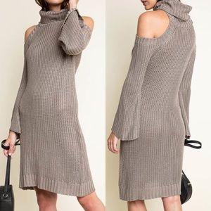 Dresses & Skirts - Cold Shoulder Knit Dress TAUPE