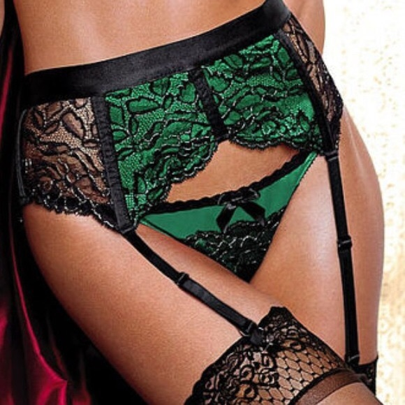 Victoria s Secret Green Satin Garter belt
