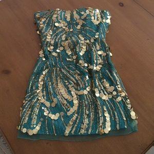 Sherri Hill Dresses & Skirts - Sherri Hill Aqua and Gold Sequin Dress