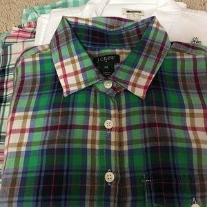 J crew green blue plum xs plaid pop over shirt